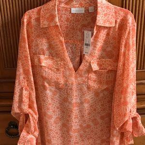 New York & Co orange flowered blouse. Brand new.